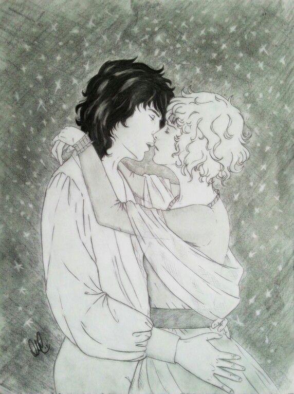 La mia scena finale di Giorni di  Pace e giorni di tempesta. Per chi vedesse questo disegno, quella con i capelli corti sarebbe Oscar...