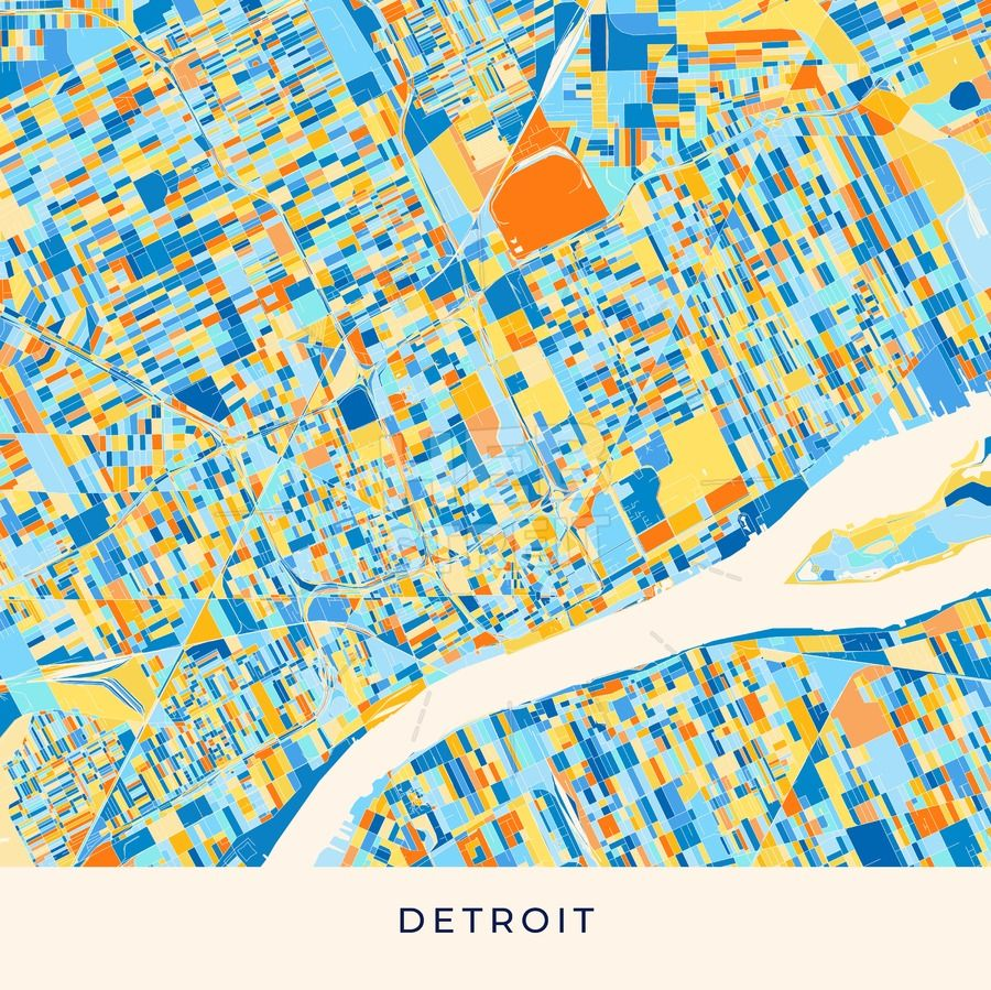 Detroit colorful map poster template | Maps Vector Downloads