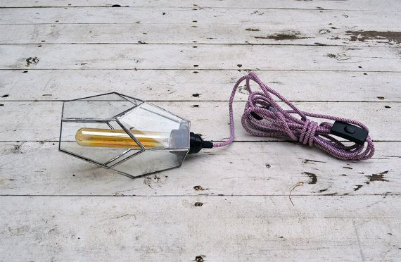 Industrial Geometric Pendant Light with Cloth by TheLandofSalt, $162.00