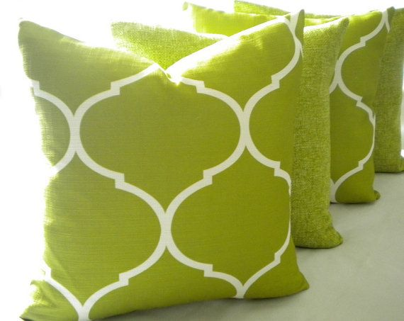 Set Of 4 Pillow Covers Le Green Moroccan Tile By Micablue 115 00