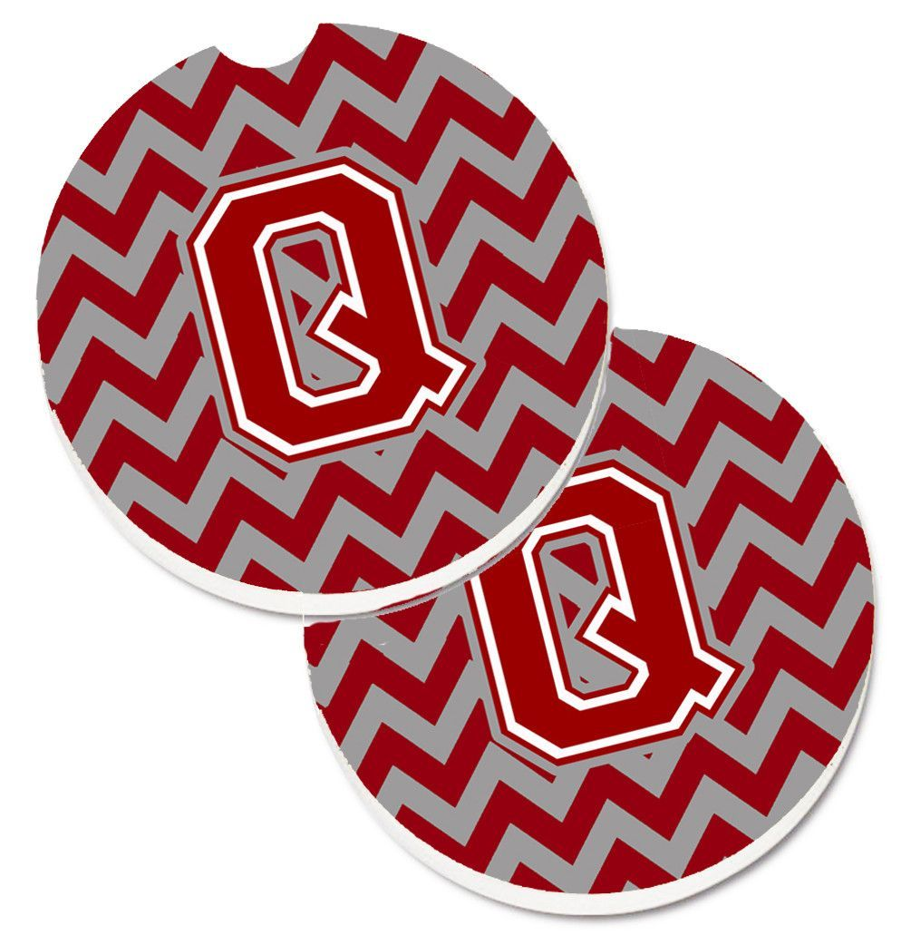 Letter Q Chevron Maroon and White Set of 2 Cup Holder Car Coasters  CJ1049-QCARC
