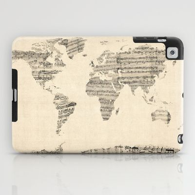 Old Sheet Music World Map iPad Case