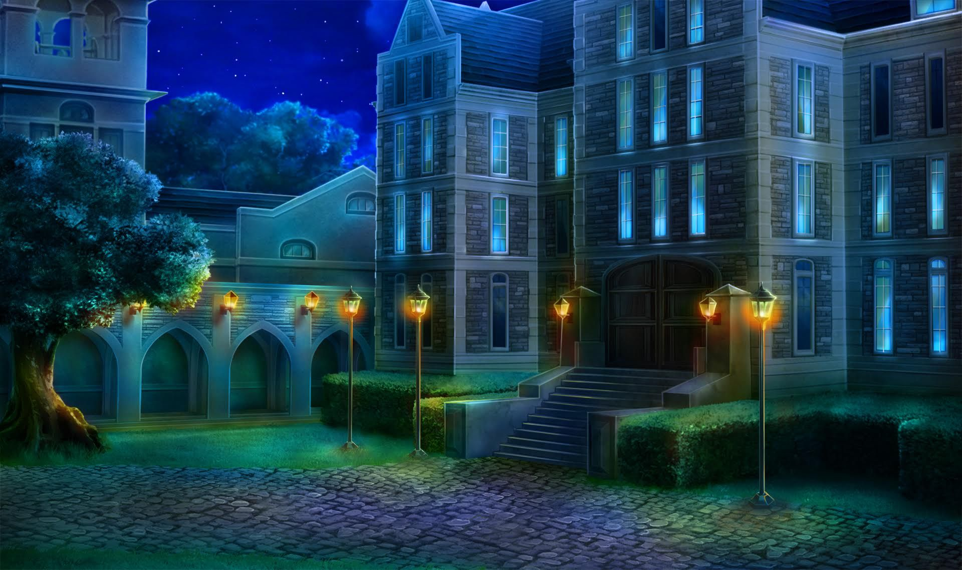 EXT. ST ANDREWS HIGH SCHOOL NIGHT Anime background