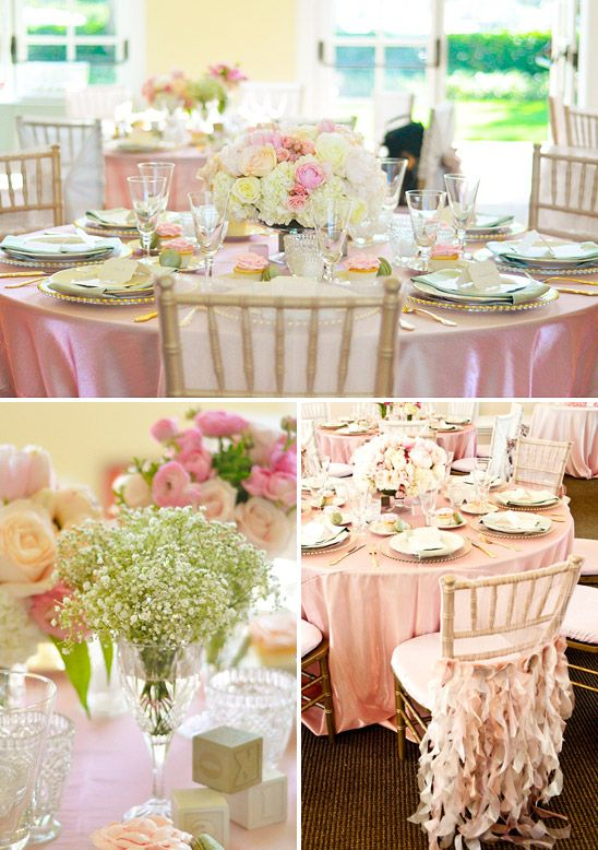 Pretty Baby Shower In Pink Mint Green And Gold Decorate The Chairs