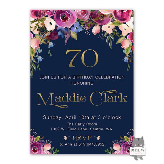 70th birthday invitations floral birthday invitations for women