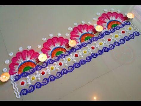 Beautiful Flower Type Rangoli Border Design Youtube Nishita