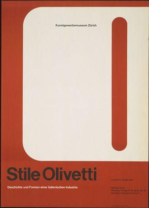 Stile Olivetti Exhibition Poster, Kunstgewerbemuseum Zürich, Designed by Walter Ballmer, 1961