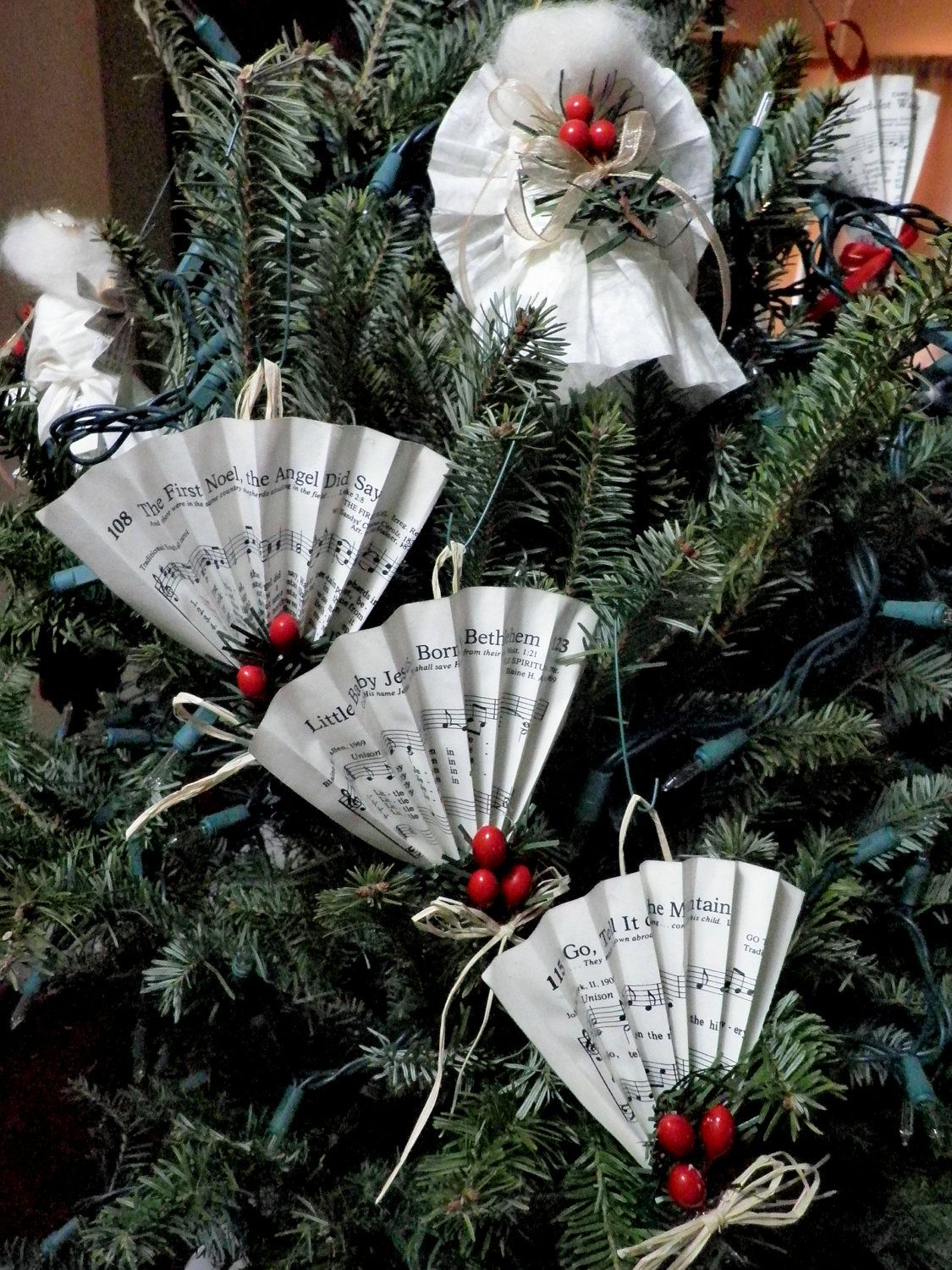 Christmas Ornament, Upcycled Hymn Music, Fan Shape Set Of ...