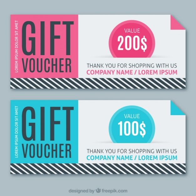 sale coupons in pink and blue colors with stripes free vector