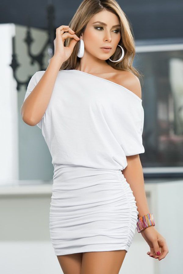 2014 New Fashion summer White Sexy Noble Single Shoulder Dress ...