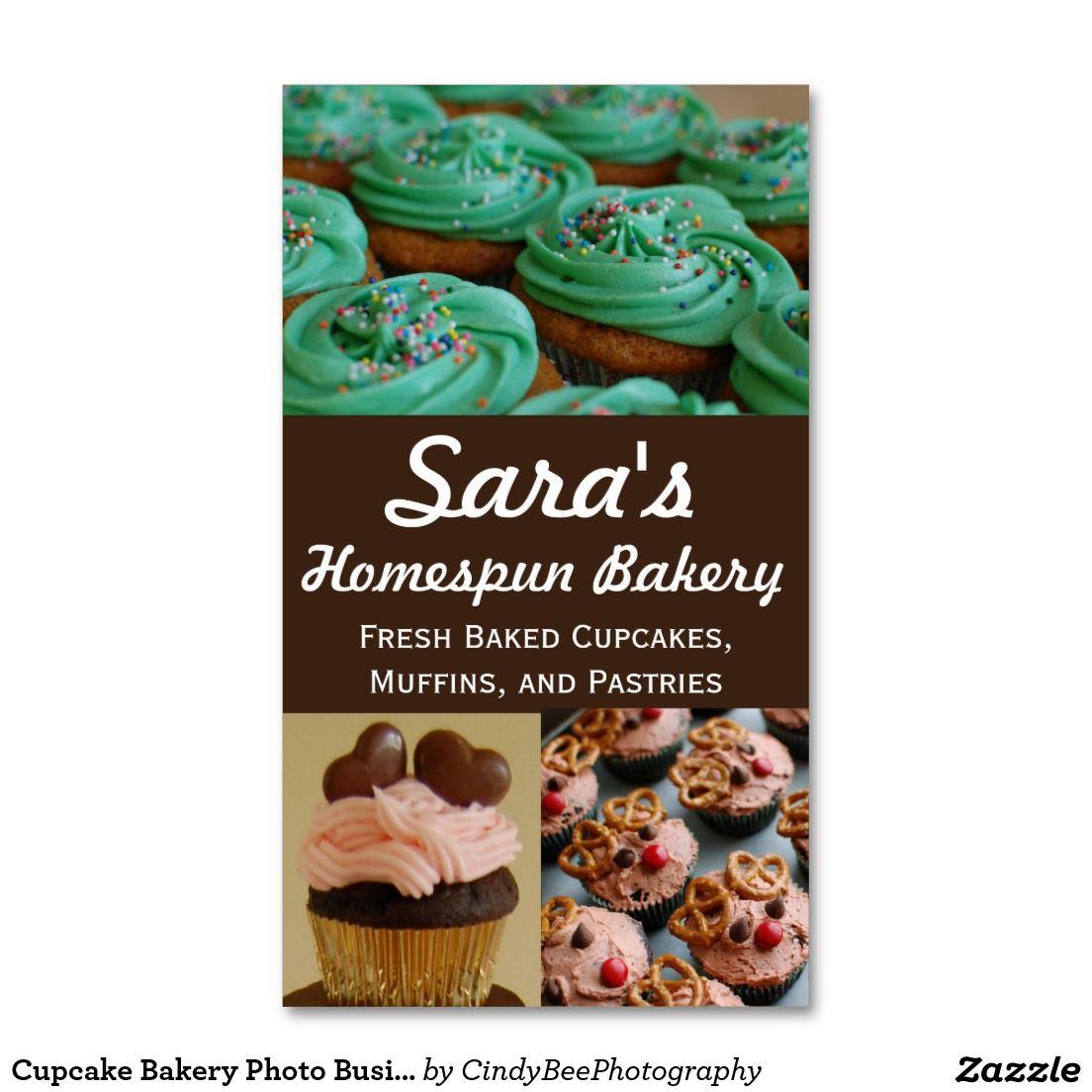 Cupcake Bakery Photo Business Cards | Cupcake bakery, Business cards ...