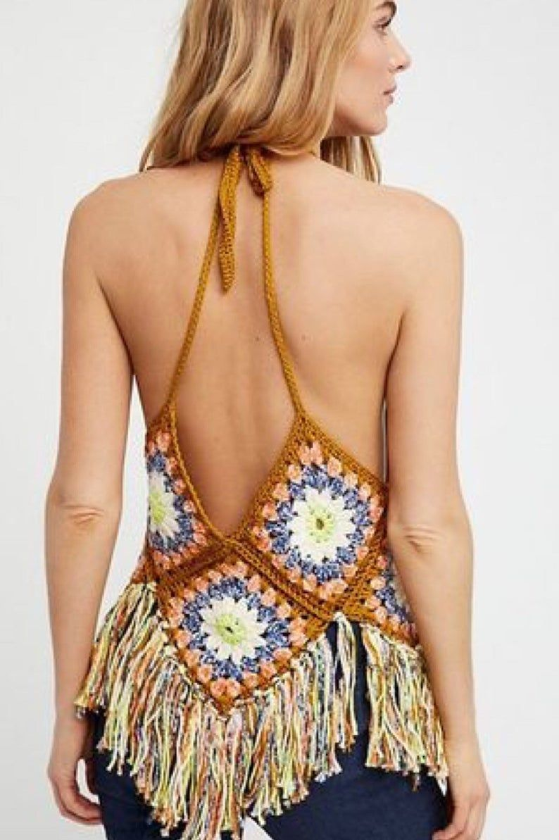 Crochet Top Rainbow Mandala Backless Top in Black Crochet Hippie Clothes for Woman Hippie Festival Shirt with See Through Mandala Design