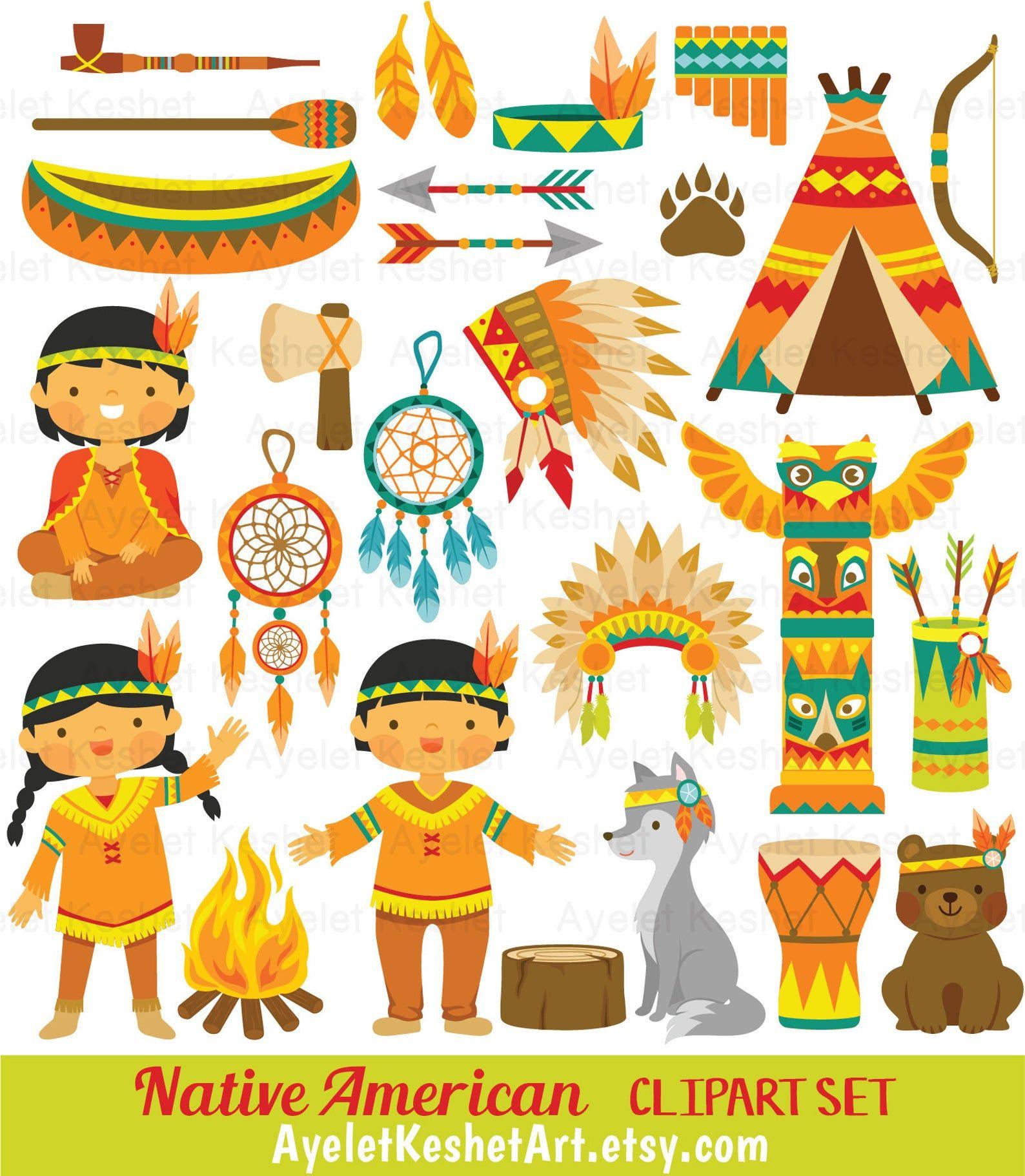 Native American Clipart Set Indian Tribal Clipart Bundle With Etsy Art Set American Cartoons Clip Art