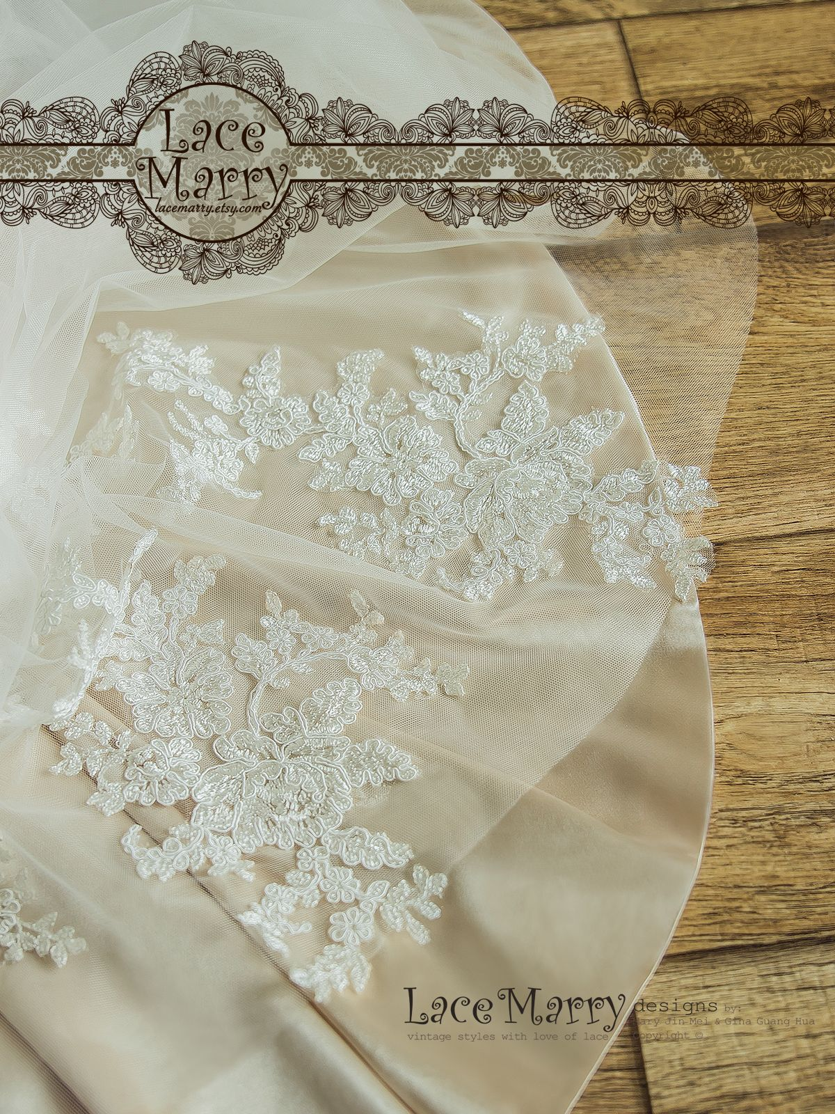 Soft Silk Satin Underlay is made in a Light Champagne shade to Emphasize the Beauty of the Lace.