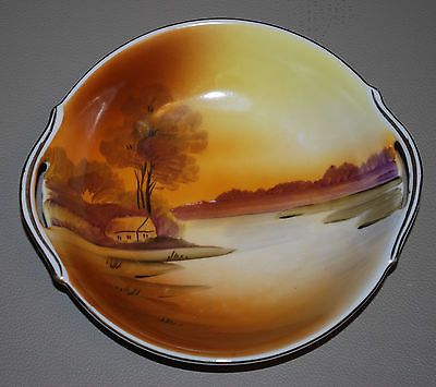 Sweet Nippon Bowl with Cutout Handles Hand Painted Handpainted | eBay