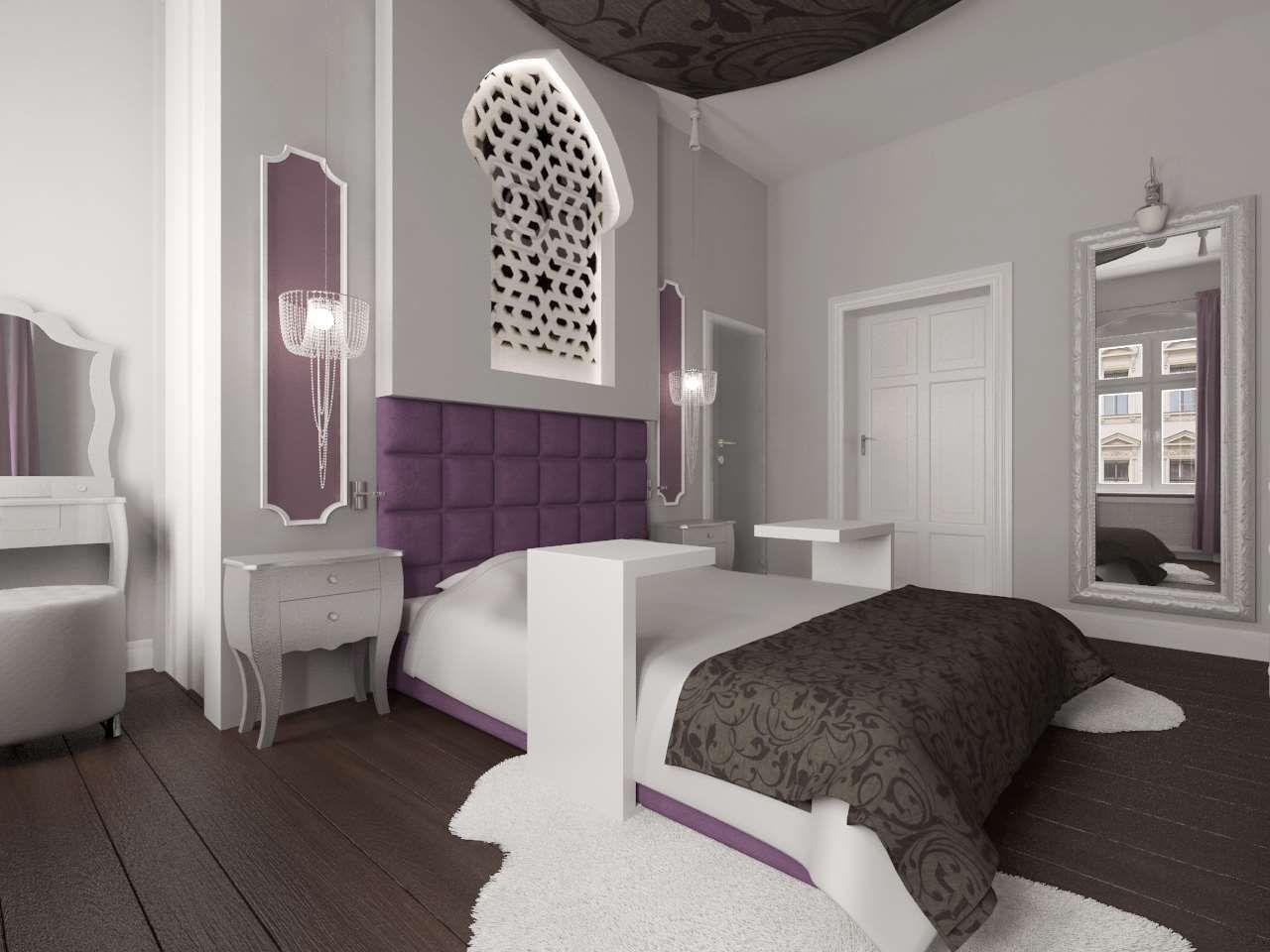 Sypialnia Z Wyraźnie Ciemną Podłogą Oraz Jasnymi ścianami