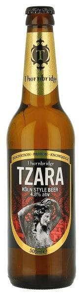 Cerveja Thornbridge Tzara, estilo Kölsch, produzida por Thornbridge Brewery, Inglaterra. 4.8% ABV de álcool.
