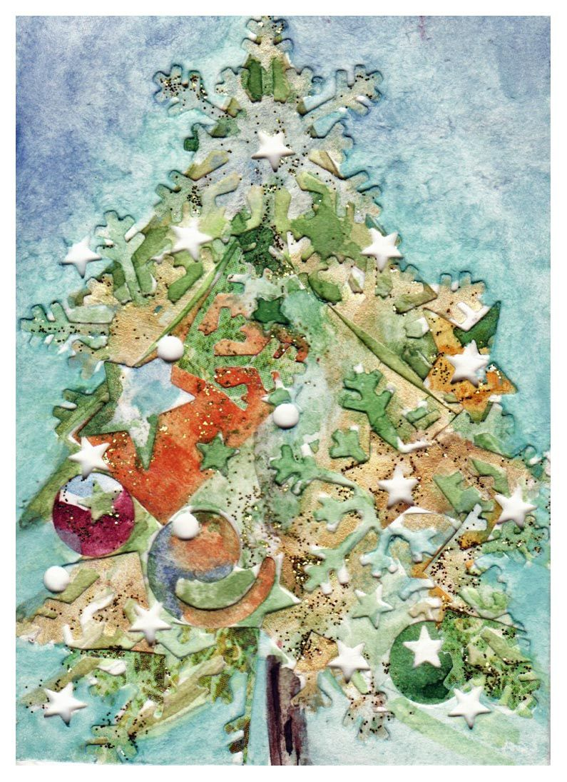 mixed media/watercolor/Christmas Card Collage (2011)