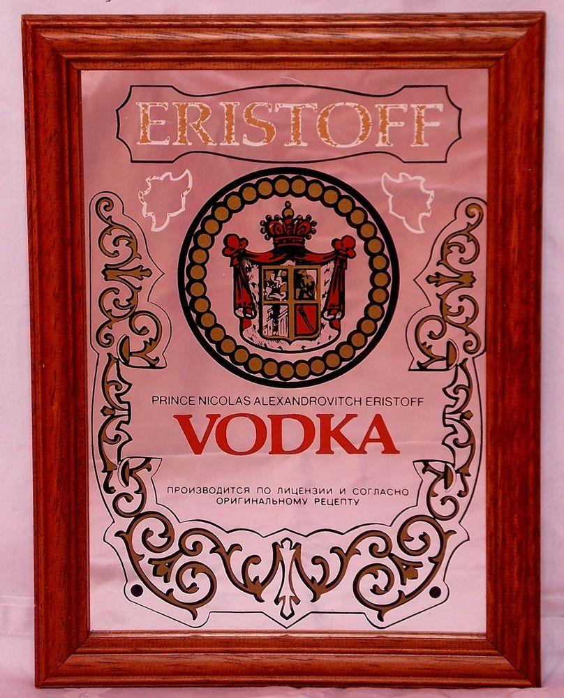 Vintage Oak frame ERISTOFF Russian Vodka bar advertising picture mirror, Home Bar