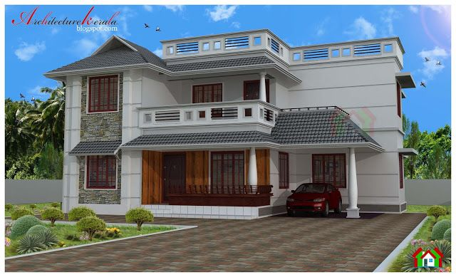 Architecture Kerala Four Bed Room House Plan House Plans Budget House Plans Kerala House Design