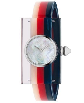 68dfff439e9 Gucci Women s Swiss Plexiglas Transparent Bangle Bracelet Watch 24x40mm