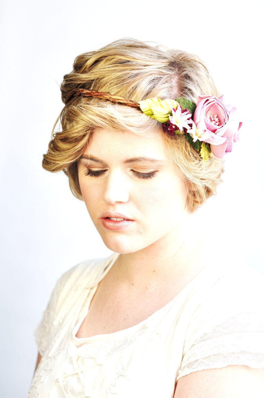 Bridal Flower Crown, Flower Tiara, Wedding Hair Accessories, Flower ...