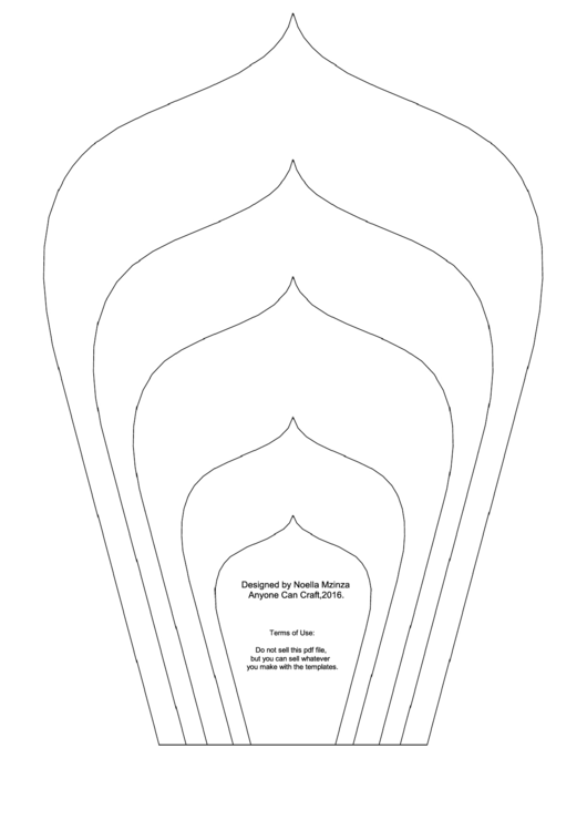 Large Flower Petals Template Spear Shaped A4 Printable Pdf