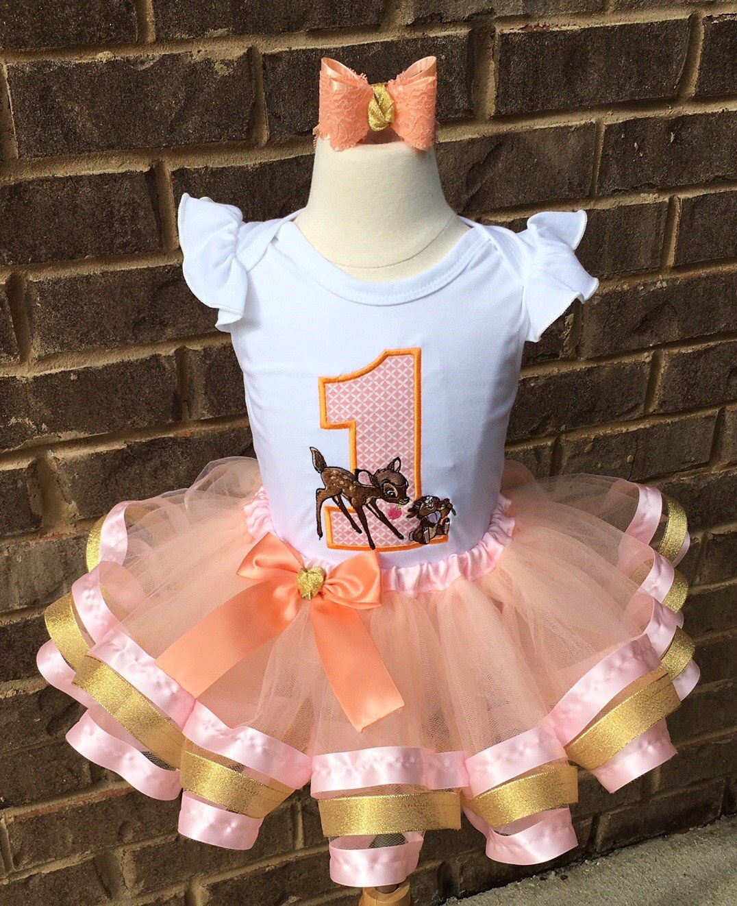 fcdb1c2c6 Excited to share this item from my #etsy shop: Bambi and Thumper tutu outfit,  girls first birthday, ribbon trim tutu, peach and pink tutu