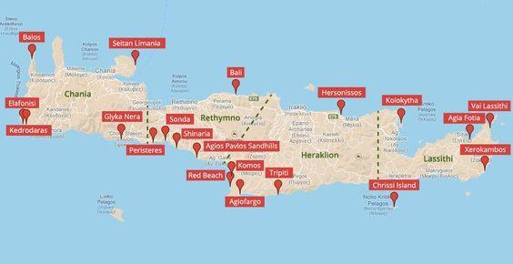 kreta sehenswürdigkeiten karte Landkarte der Strände auf Kreta (c) Google Maps   weltvermessen.de