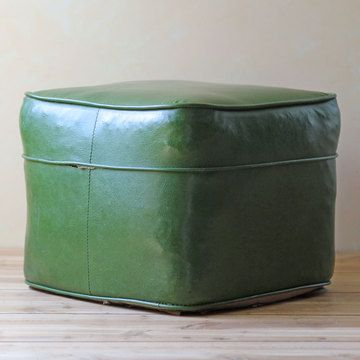 Square Foot Stool Green Footstool Pouf Footstool Wellness Design