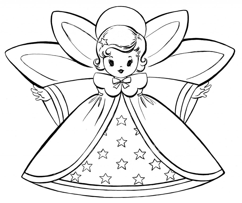 Free Christmas Coloring Pages Retro Angels Angel Coloring