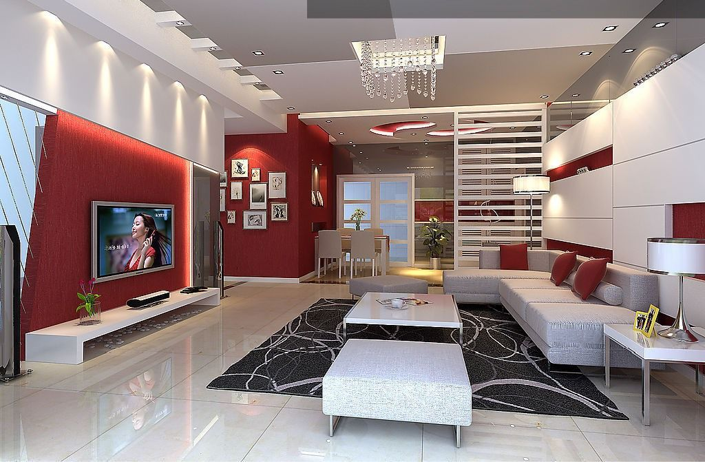 Salon rouge et blanc design et moderne living room - Idee deco salon moderne ...