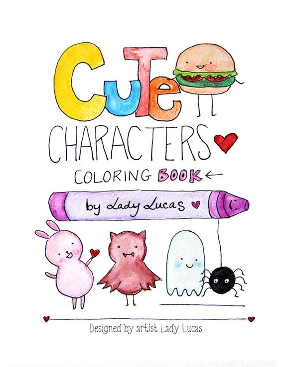 Kawaii Coloring Book Cute Characters Printable Instant Download