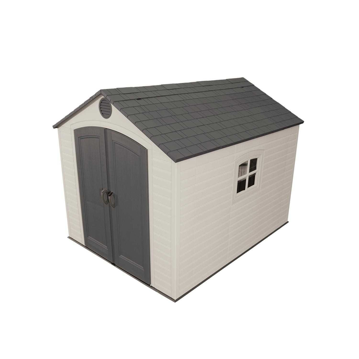 Lifetime Outdoor Storage Shed with Window Skylights and Shelving