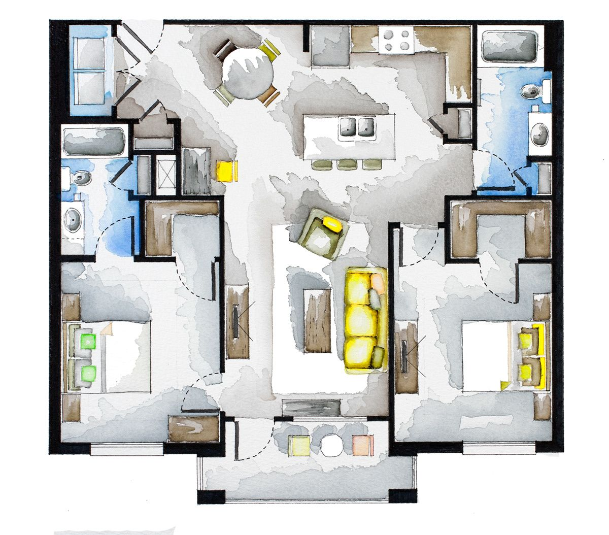 Real Estate Watercolor 2d Floor Plans Part 4 On Behance Interior