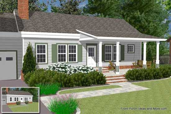 A Front Porch Addition Adds Both Value And Appeal To Any Home Front Porch Design Ranch House Designs Porch Roof Design