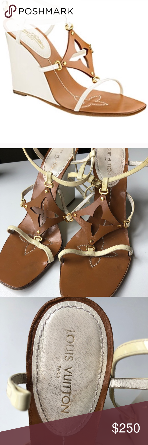 5b01bd65f53e Louis Vuitton Capricieuse Wedge Sandals Size 39 The Brown leather in front  forms the Logo