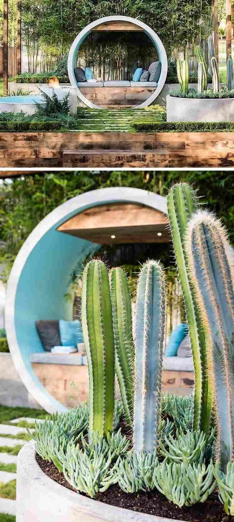 arceau béton - coin cosy pour jardin moderne
