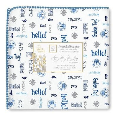 """SwaddleDesigns featuring Disney - It's a Small World - Ultimate Receiving Blanket - True Blue """"Hello"""" with True Blue Trim"""