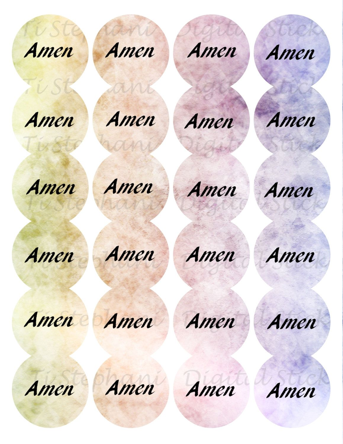 Amen Hazy Rainbow 2 Stickers, 24 Stickers, Digital Round Images 1 2/3 inch circle, Amen Series for Planner, Jewelry, Scrapbooking and Crafts by TiStephani on Etsy