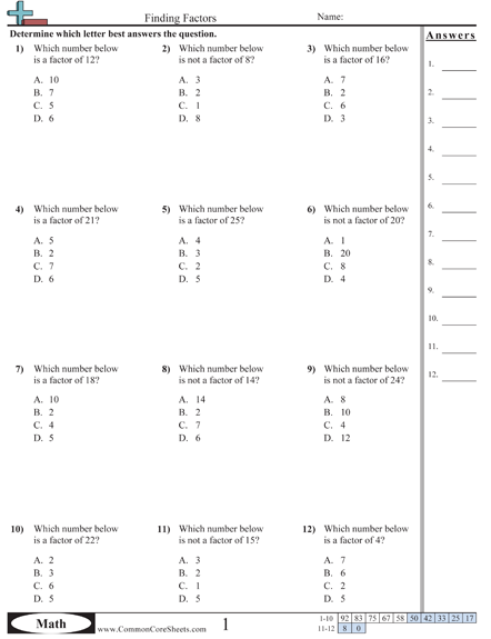 Factors Worksheets Math Worksheets Factors And Multiples Math Practice Worksheets