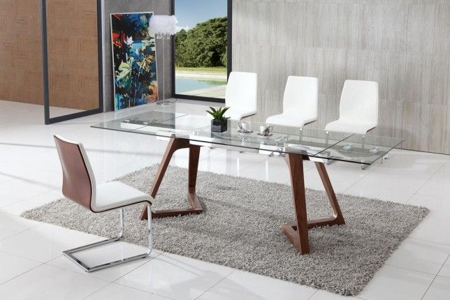 Kitchen Wooden Glass Top Dining Table Modern Dining Chairs White