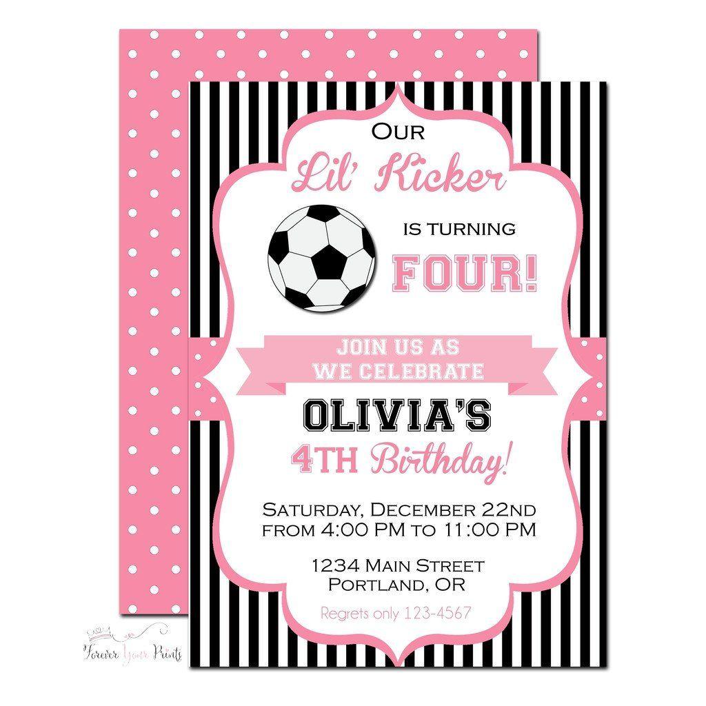 girls soccer birthday invitation www foreveryourprints com
