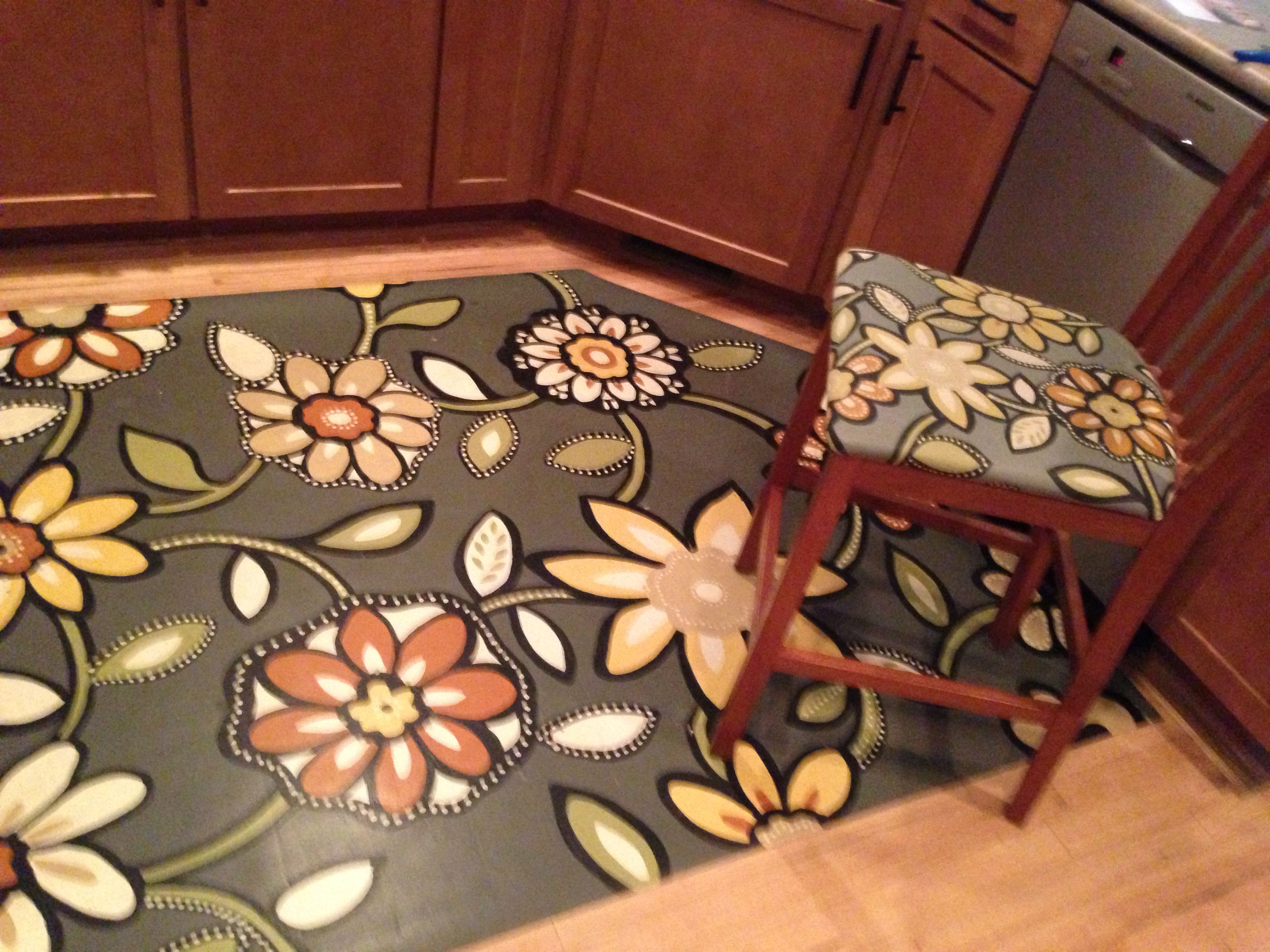 Hand Painted Floor Cloth And Matching Barstool Our House