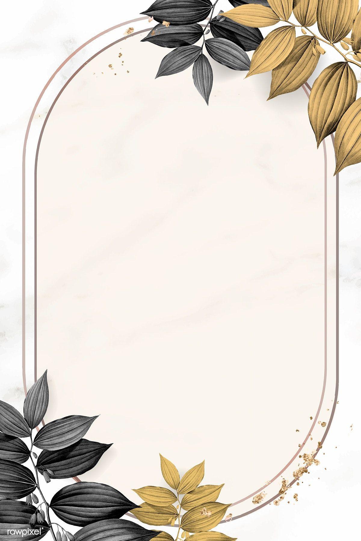 Download Premium Vector Of Gold Frame With Foliage Pattern On Marble Bunga Cat Air Kartu Pernikahan Bingkai Foto