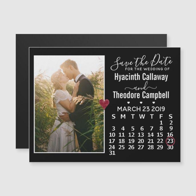 Wedding Save the Date March 2019 Calendar Photo Wedding Postage