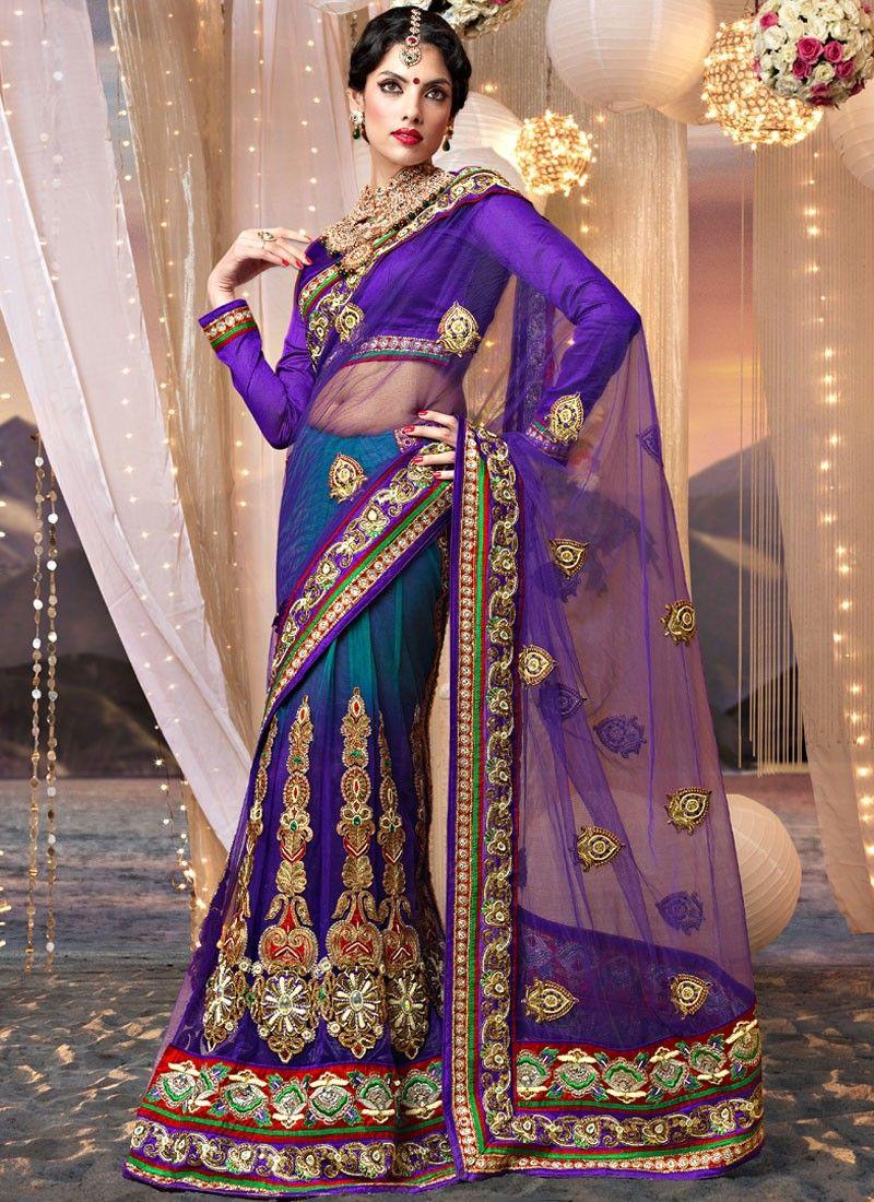 Purple and Shaded Teal Blue Net Lehenga Saree   Quiero