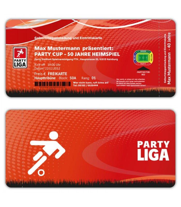 Einladungskarten Geburtstag Als Fussball Ticket Eintrittskarte Einladung  Soccer Mehr