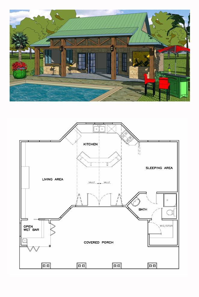 Craftsman Style House Plan 57856 With 1 Bed 1 Bath Pool House Designs Pool House Plans Craftsman Style House Plans