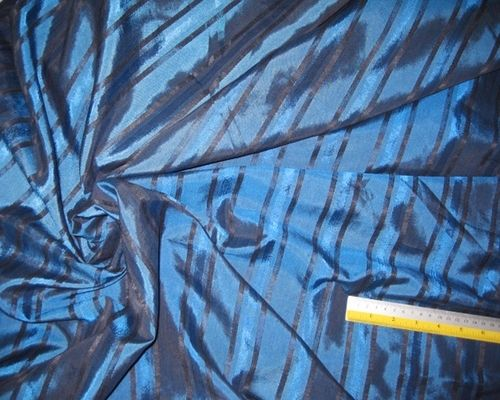 Blue Teal & Black PinStripe Silk Taffeta 60